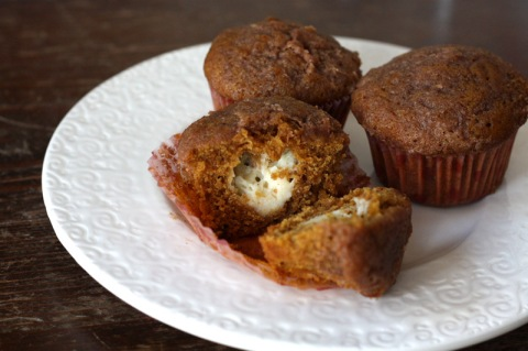 Cream cheese-stuffed pumpkin muffin